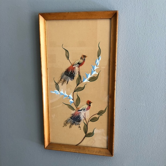 Vintage Other - Vintage Feather Bird Painting